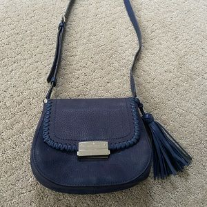 Kate Spade Navy Stitched Leather Tassel Crossbody